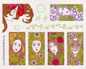 Domino Size RUBBER STAMPS Fairy Flower Art Nouveau Lady Rose Leaf Butterfly Goddess