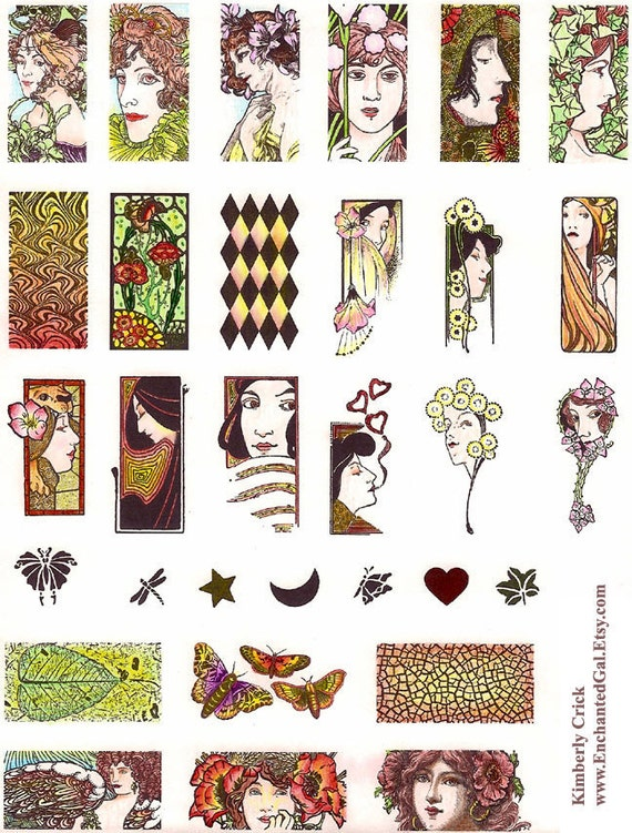 Jewelry Art Nouveau Rubber Stamp Set Domino Pendant  Size Lady Leaf Mucha Woman Faces