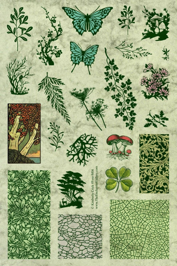 Rubber Stamps Forest Fern Tree Butterfly Leaves Lichen Mushroom Scenery Jewelry Domino Craft Supplies