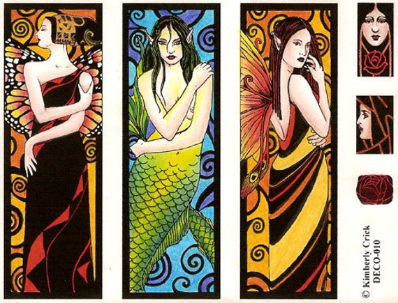 Fantasy Art Rubber Stamps Fairy Mermaid Nouveau Deco Lady Feminine Artwork