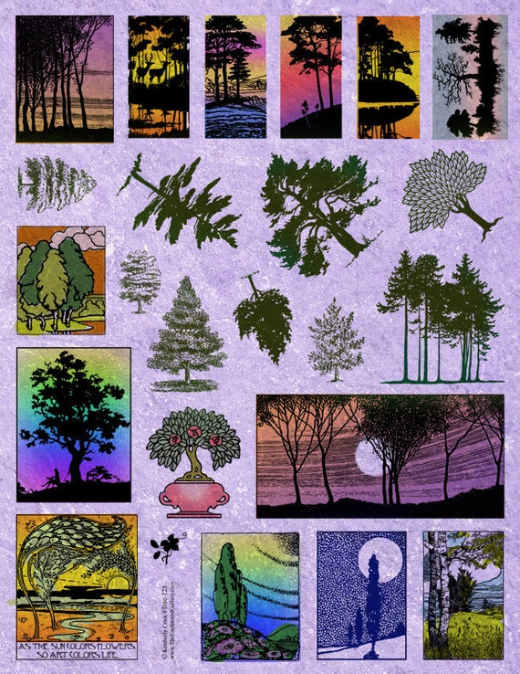 TREE RUBBER STAMPS Forest Scenery Pine Art Nouveau Nature Designs Domino Jewelry