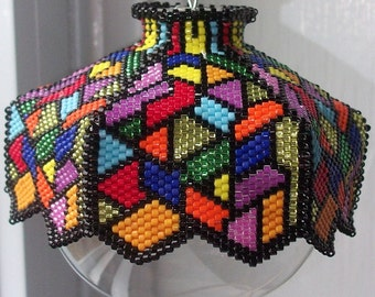 Stained Glass is a Blast Beaded Ornament Cover E-Pattern