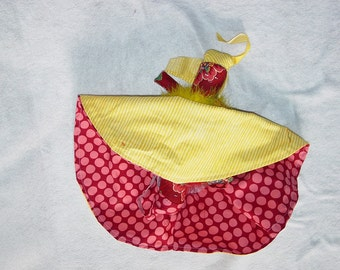 Polka Dotted Reversible Doll, Pink and Red Topsy Turvy Doll, Ragdoll, cloth doll