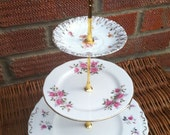 Upcycled vintage china 3 tier cupcake stand
