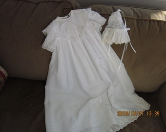 Handmade Baby's Christening Gown and Bonnet