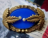Vintage 1920s Art Deco Blue Chalcedony Beveled Glass and Brass Leaves Figural Brooch