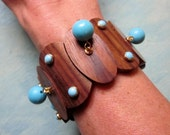 Vintage Statement Bracelet Chunky Modernist Teak Wood Turquoise Lucite Wide Retro Stretch Bangle 1970s Jewelry