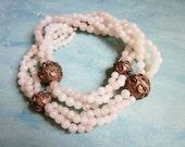 Vintage Statement Necklace Chunky Brass White Bead Natural Stone Quartz Ethnic Tribal Boho 1970s Jewelry