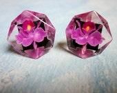Vintage Earrings Reverse Carved Lucite Purple Orchid Flowers 1950s Earrings