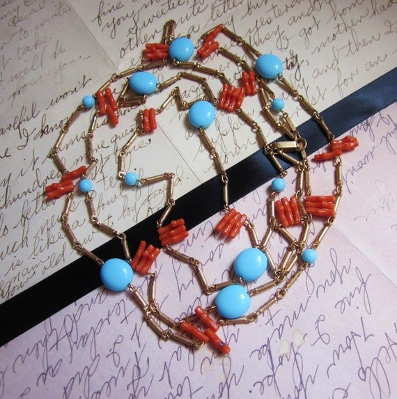 Vintage Art Deco Style Necklace Long Flapper Coral Turquoise Gold 1950s Jewelry