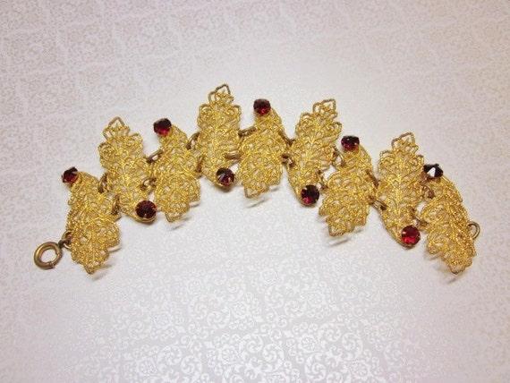 Art Deco Bracelet Ruby Red Rhinestones Gold Filigree Leaves Vintage 1930s Jewlery