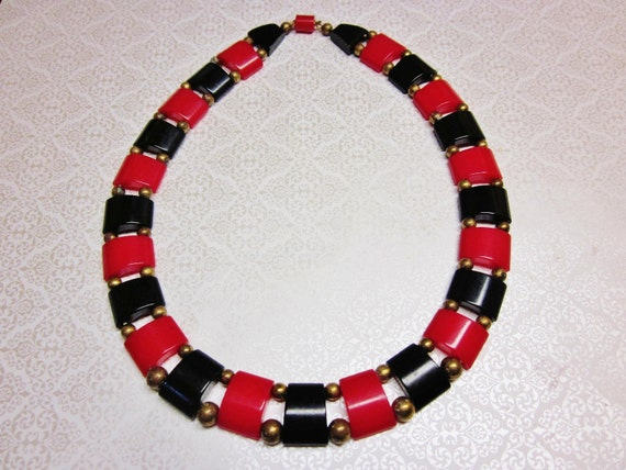 RESERVED for CarolAnne   Vintage Art Deco Necklace Geometric Red and Black Celluloid 1930s Jewelry