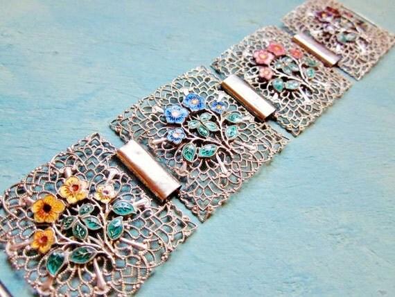 Vintage Chunky Bracelet Silver Tone Filigree Enamel Wide Floral Flower Statement Cuff 1970s Jewelry