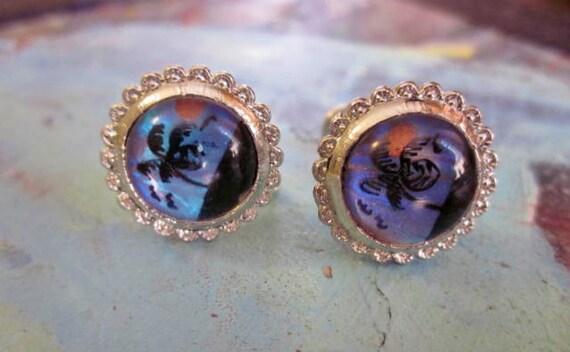 Vintage Earrings Silver Hand Painted Butterfly Wings Beach Palm Trees Birds Sun 1950s Jewelry