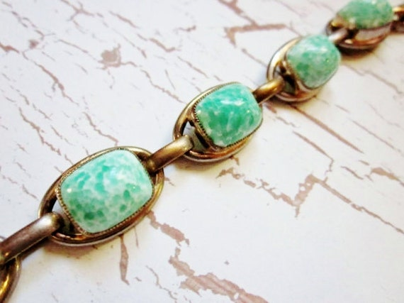 Vintage Bracelet Green Glass Gold Vermeil Chunky Stones 1940s Jewelry