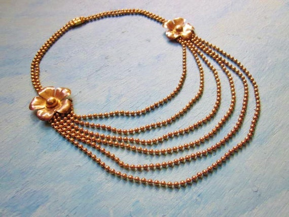 Art Deco Necklace Gold Brass Bead Chain Five Strand Swag Festoon Flower Choker 1930s Jewelry