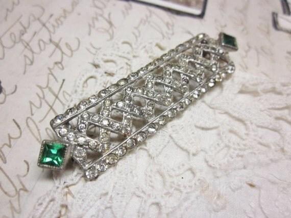 Art Deco Brooch Clear Rhinestones Emerald Green Princess Cut Stones Vintage 1930s Jewelry
