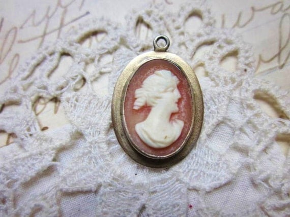 Antique Victorian Cameo Carved Shell Pendant Charm Silver 1900s Jewelry