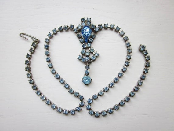 1950s Rhinestone Necklace Ice Blue Something Blue Silver Choker Vintage Wedding Jewelry
