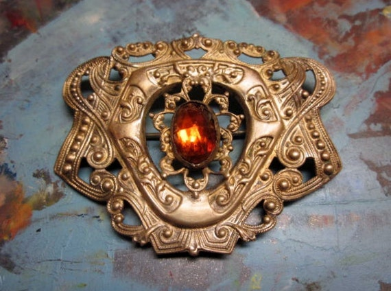 Antique Brooch Edwardian Sash Pin Amber Glass Gold Brass HUGE Vintage 1900s 1910s Jewelry