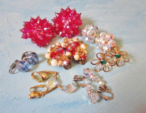 Vintage Destash Lot Mad Men Earrings Wear Resell Upcycle Assemblage Glass Crystals 1960s Jewelry