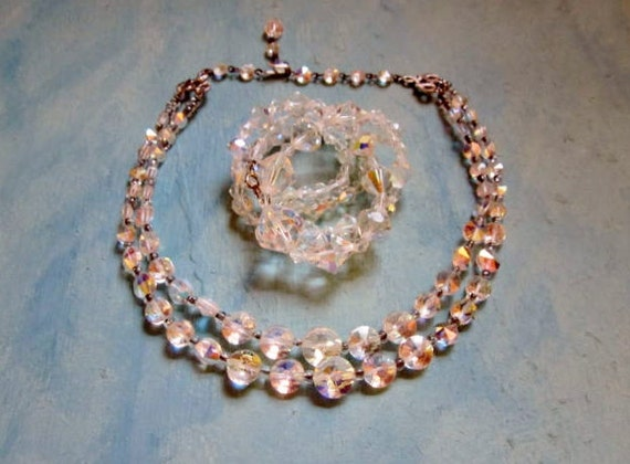 Vintage Glass Necklace Lot Faceted Crystal Chokers Unusual Aurora Borealis Rhinestones 1950s Jewelry Wear or Destash