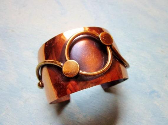 Vintage Bracelet Wide Copper Cuff Modernist Mid Century Modern Statement 1960s Jewelry