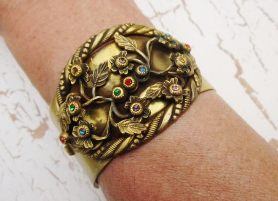 RESERVED for Fashionbeauty Vintage Statement Bracelet Chunky Rhinestones Flowers Hinged Cuff 1940s Jewelry
