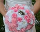 "The ""Lizzie"" Unique Vintage style Pink  White Bridal bouquet pearl rhinestone accents Organza Chrysanthemum, satin and shaggy flowers"