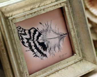 Silver Stripe Feather (mini, framed)