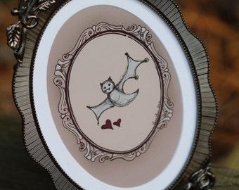 Le Handsome Bat (small, framed)