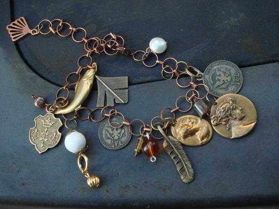 Wenceslas Charm Bracelet. Genuine Pearl Watch Parts. Game of Thrones , Edwardian Regal CHARM BRACELET.One of A kind.Steam Punk EPSTEAM Sale