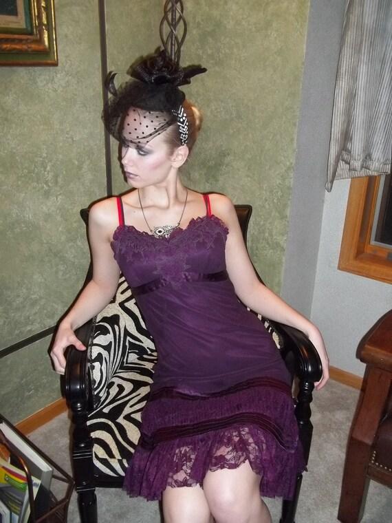Ladies Vintage Designer Sue Wong Flapper style Dress 100% SILK/ Size 6 Plum/ Ladies Designer Couture Gown/Intricate detailing Lace
