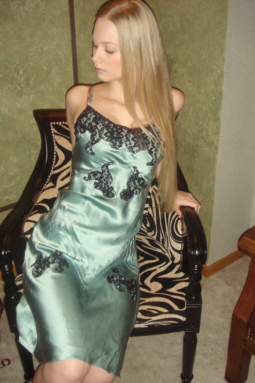 1940s Dress Silky Stars Vintage 40s Dress: Vintage SLIP DRESS 100% SILK 1940's Neglige Silk Absyneth