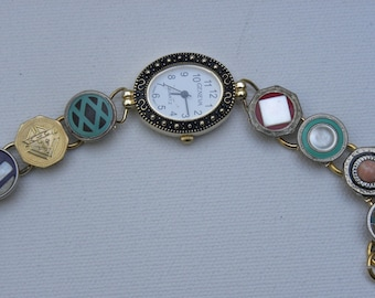 Antique Victorian Cuff Link Watch 1920 Victorian Pearl and Celluloid colorful CuffLinks