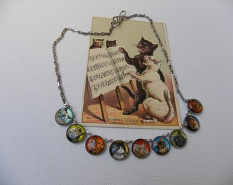 PURRFECT KITTY BUTTON Necklace whimsical colorful pet lovers