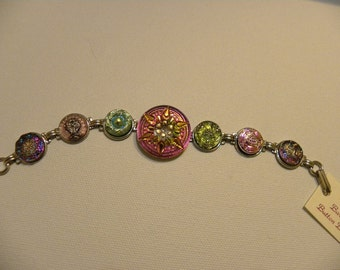 "GLASS BUTTON BRACELET Handpainted 24k  Gold ""starburst"""
