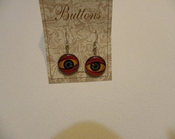 STEAMPUNK  EYEBALL     BUTTON Earrings