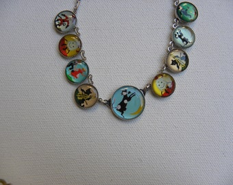Nursery Rhyme BUTTOn Necklace Whimsical Cow Jumped Over the Moon Nostalgic