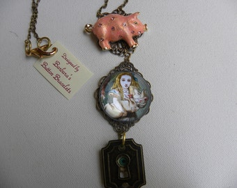 Button Necklace ALICE in WONDERLAND with Piglet Looking Thru The KeyHole Sale