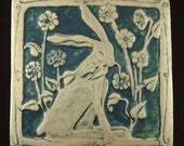 Rabbit with flowers, teal blue
