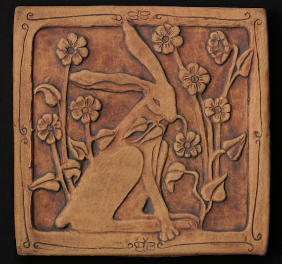 Rabbit with flowers 6 inch tile