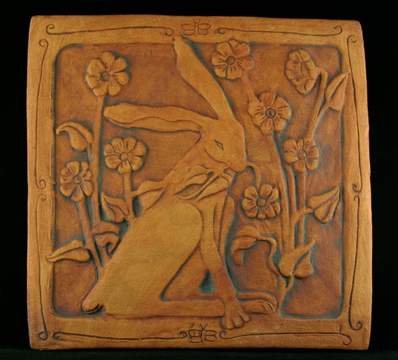 Rabbit with flowers  tile. Made to order.