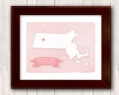 MASSACHUSETTS art print - Personalized Home decor - Custom text Wedding gift Bridal shower Housewarming gift  Wedding guest book