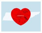 Nashville Tennessee Heart - City Love - 11x14 print