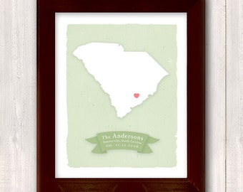 SOUTH CAROLINA art print - Personalized Home decor - Custom text Wedding gift Bridal shower Housewarming gift  Larger for wedding guest book