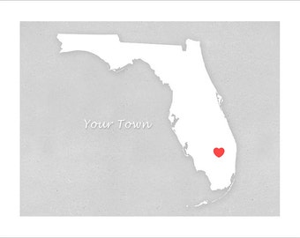 Florida art - Your Town in Florida - Simple Heart - 11x14 print