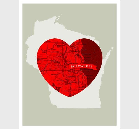 Milwaukee Heart - 11x14 print