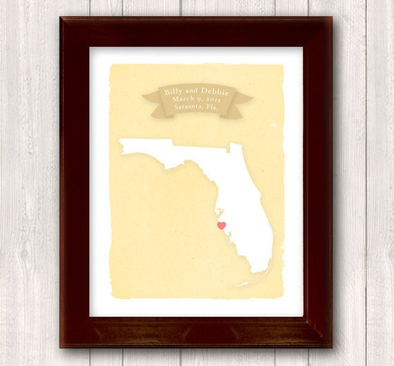 FLORIDA art print - Personalized Home decor - Custom text Wedding gift Bridal shower Housewarming gift  Larger size for wedding guest book