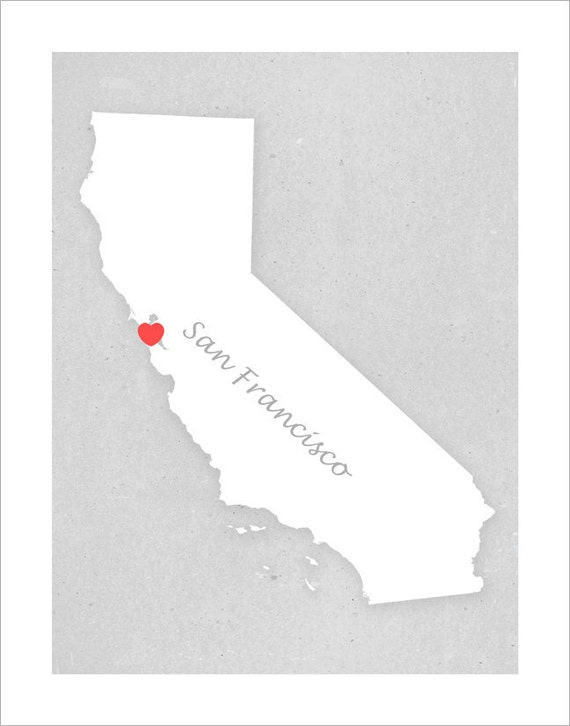 San Francisco or Your Home Town - Custom Heart Location- 11x14 print -San Francisco art print poster